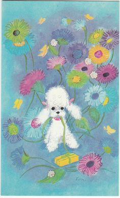 Vintage 1970's Happy Birthday Poodle Greeting Card & Envelope by Royle in Collectables, Paper & Ephemera, Greeting Cards | eBay
