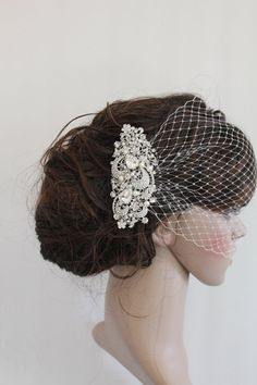Bridal Veil and Bridal Comb,Wedding Birdcage Veil,Blusher Bird Cage Veil,Rhinestone Fascinator Comb,Wedding Birdcage Veil,Wedding headpiece on Etsy, $69.00