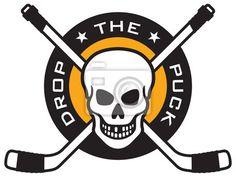 Wall Mural hockey emblem with skull and crossed hockey sticks - hockey • PIXERSIZE.com