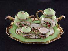 Jean Yingling Coffee and Tea Set Miniature. Green w Floals. Teapot Coffee Pot Sugar Creamer.