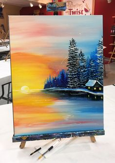 Painting of a sunset - orange and blue - with evergreen trees a cabin and a lake Painting of a sunse Lake Painting, Diy Painting, Painting & Drawing, Orange Painting, Pastel Art, Acrylic Art, Painting Inspiration, Art Inspo, Amazing Art