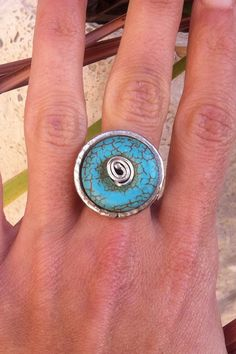Turquoise handmade sterling silver ring via Etsy.