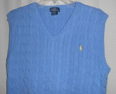 POLO by RALPH LAUREN Boys Sz XL(18-20) Blue Cable Sweater Vest Yellow Pony Logo #PoloRalphLauren #Vest