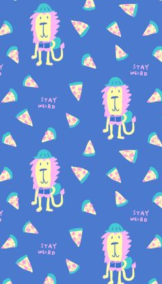 Stay weird, Back to school Quirky Lion and pizza, surface pattern design by Canigrin Shop this fabric on Spoonflower http://www.spoonflower.com/fabric/5545550-stay-weird-lion-pizza-pink-blue-by-canigrin