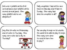Here's a set of 40 addition and subtraction word problem task cards.