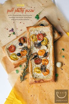 Vegan Puff Pastry Pizza with Chanterelle Mushrooms, Oven-Roasted Baby Heirloom Tomatoes and Artichoke Alfredo.