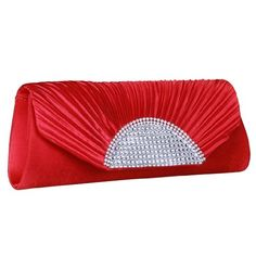 ImPrincess BAG023-2 evening bag Red Sateen Rhinestone decorate with rhinestones -- Want to know more, click on the image.