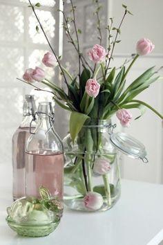grand vase en verre, deco vase transparent avec fleurs
