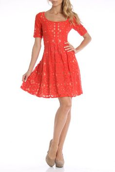 Nine west adorable bright lacy dress...slap on a pair of low brown country boots and a cowgirl hat and this would be shiz-nik lol