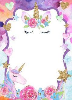 invitacion invitation unicorn Image by 🖤༺ⵕᥙᥱᥱᥒ༻💜 Unicorn Themed Birthday Party, Unicorn Birthday Invitations, Birthday Party Decorations, 7th Birthday, Unicorn Images, Unicorn Pictures, Invitation Fete, Unicorn Wallpaper Cute, Unicorn Backgrounds