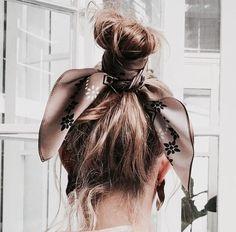 Bun + hair bandanna.
