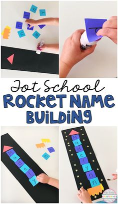 Practice the letters in your little ones names with this build a name rocket craft perfect for a space theme in tot school, preschool, or the kindergarten classroom. (or use for spelling words with older kids) Space Theme Classroom, Space Theme Preschool, Preschool Names, Name Activities, Preschool Lessons, Outer Space Activities, Outer Space Crafts For Kids, Senses Activities, Health Activities