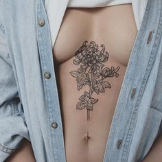 Chrysanthemum stem on the solar plexus - Tattoo People Toronto - Jess Chen