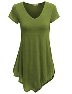 Doublju VNeck Handkerchief Hem Long Tunic Shirt Top Plus size available GREEN 2XL *** Continue to the product at the image link.