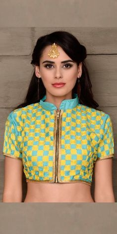 Antique Blue And Yellow Silk Designer Blouse.