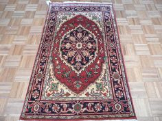 3 x 5  Hand Knotted Brick Red/Navy Blue Serapi Heriz Oriental Rug on Etsy, $149.00