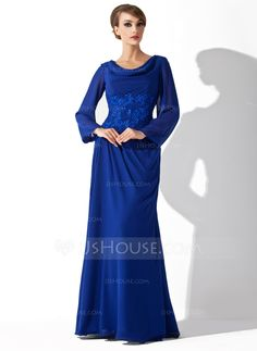 Sheath Cowl Neck Floor-Length Chiffon Charmeuse Mother of the Bride Dresses  With Lace cfe70bcfb876