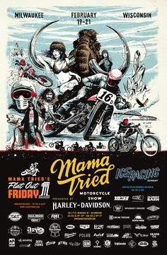 Mama Tried Motorcycle Show poster 2016. Illustration by Adi Gilbert / 99seconds.com