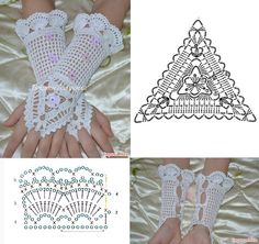 Crochet Lacy Mittens Crochet Fingerless Gloves Free Pattern, Knit Mittens, Crochet Rings, Crochet Necklace, Irish Crochet, Crochet Lace, Crochet Designs, Crochet Patterns, Crochet Wedding