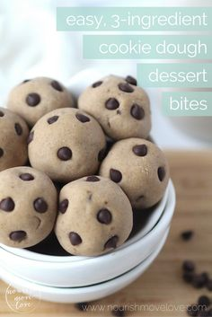 gluten-free, dairy-free, egg-free and 100% guilt free; these easy, 3-ingredient cookie dough dessert bites are my favorite no-bake, healthy treat!