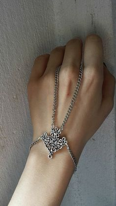 Silver Tone Ring- Bracelet Handmade Handpiece by Lycidasjewelry on Etsy Bohemian Look, Ring Bracelet, Handmade Bracelets, Rings, Silver, Etsy, Collection, Money, Ring