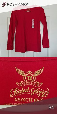 NWT - Red Long Sleeved Tee Red Long Sleeved Tee.  Size XS Faded Glory Tops Tees - Long Sleeve