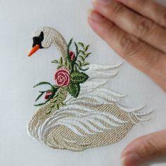 ♒ Enchanting Embroidery ♒ Embroidered Swan | Alphabet heirloom machine embroidery designs instant download
