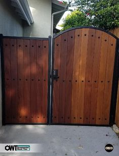 Fence And Gate Supplies Wooden Garden Gate, Garden Gates And Fencing, Wooden Gates, Gate Design, Door Design, Aluminium Gates, Side Gates, Privacy Fence Designs, Wrought Iron Gates
