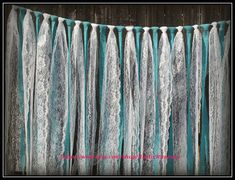 Decorate head table, dessert tables and guestbook/ photo tables.Turquoise - Teal - Tiffany blue burlap and white lace hanging garland, rag tie, Wedding decor, lace curtain by RusticRunners on Etsy Lace Garland, Hanging Garland, Garland Decoration, Garlands, Teal Bridal Showers, Red Wedding, Wedding Ideas, Wedding Inspiration, Wedding Reception