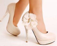 Romantic Flower Womens Platform Pumps Stiletto High Heels Bridal Wedding Shoes