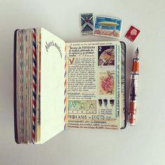 Handmade Traveler's Notebook by José Naranja Sketch Journal, Book Journal, Bullet Journal, Art Journals, Notebook Art, Notebook Ideas, Travel Sketchbook, Art Sketchbook, Visual Diary