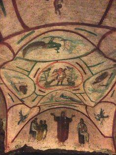 Good Shepherd and Orant fresco, Catacomb of Priscilla. Excavated tufa and fresco. Early Christian, Christian Art, Tempera, Ap Art History 250, Christian Drawings, Fresco, Roman Art, Historical Images, Orthodox Icons