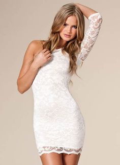Cream / White One Sleeve Lace Bodycon Dress