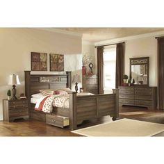 Ashley Furniture Allymore Poster Bedroom Set in Brown