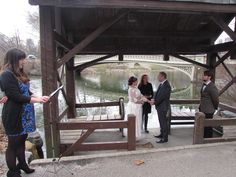 The Ceremony was at the Gazebo @ Bow Bridge, Central Park NYC. Brides sister sings 'A thousand years' (Christine Perri)