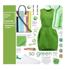"""""""Greenery"""" by federica-m ❤ liked on Polyvore featuring Sophie Hulme, 20.52, Gucci, Terre Mère, Oscar de la Renta, Magdalena, adidas, Chanel, GREEN and pantone"""