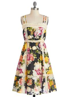 Rhythm and Blooms Dress - Festival, Multi, Floral, Crochet, Casual, A-line, Sleeveless, Summer, Better, Mid-length, Woven, Cotton