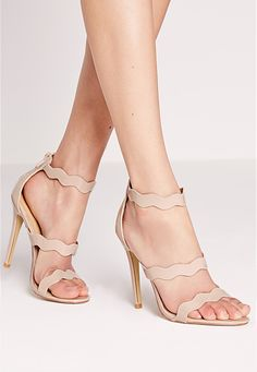 Missguided - Wave Three Strap Barely There Sandal Nude