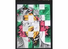 .Self-portrait, butterfly.  Pencil and prisma colored pencil.  Example of Art Project for a 7th grade class: photo of self and other meaningful image weaved into strips, and re-drawn.