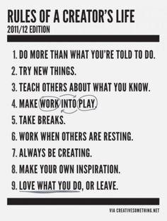Rules of a creator's life - Nicole Cardoza's Daily Musings