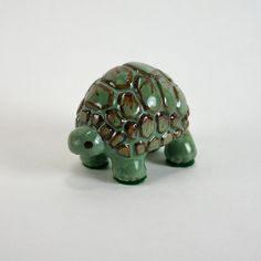 Little Green Turtle Figurine by gypsypottery on Etsy, $26.00