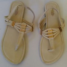 Charlotte Russe thong sandals Charlotte Russe thong sandals  Good condition minor flaws  Off white/gold Charlotte Russe Shoes Sandals