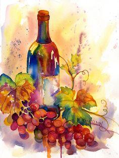 Watercolor Wine Painting  - Watercolor Wine Fine Art Print