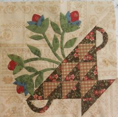 Log Cabin Quilter: Sweet Grace and Block 2 of BOM - love this! Quilt Block Patterns, Applique Patterns, Quilt Blocks, Wool Applique, Quilting Projects, Quilting Designs, Quilting Tutorials, Sampler Quilts, Appliqué Quilts