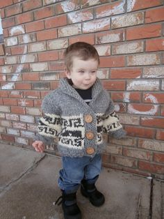 Ravelry: Northern Whale Cowichan Sweater- Toddler's Cardigan pattern by Kristen Cooper Crochet For Boys, Knitting For Kids, Free Knitting, Knit Baby Sweaters, Boys Sweaters, Knitted Baby, Cardigans, Baby Sewing Projects, Knitting Projects