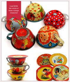 I remeber us Grimm Girls having tin dishes - to go with our play kitchen set.