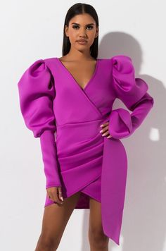 Can't help but fall in love. The AKIRA Label Madly In Love Puffy Sleeve Mini Dress is a long sleeved, neoprene based party dress complete with an silhouette, dramatic poofy shoulders, leg baring mini hem and ruched side detailing on the dress' Sexy Dresses, Short Dresses, Fashion Dresses, Womens Fashion Online, Latest Fashion For Women, Trendy Swimwear, Outfit Trends, Mini Dress With Sleeves, Special Occasion Dresses