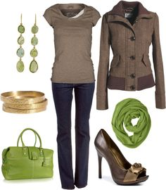 Earth tones with a nice pop of green. Love the jacket.