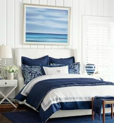 Focal Point Ocean Art: http://www.completely-coastal.com/2016/04/ocean-art-paintings-photos-focal-point-decor-ideas.html Beautiful blue ocean painting above the headboard.