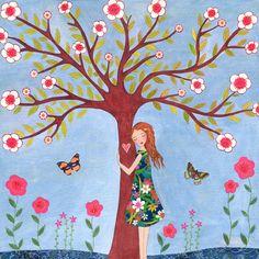 Love Nature Girl Art Print